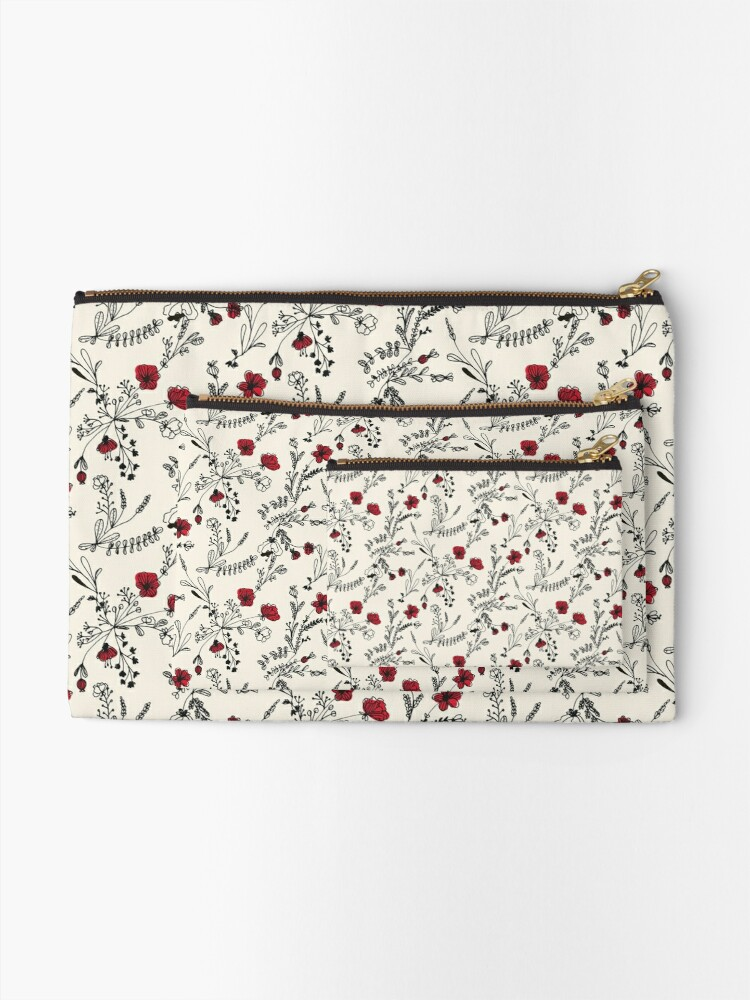 Alternate view of Red Flower Pattern Zipper Pouch