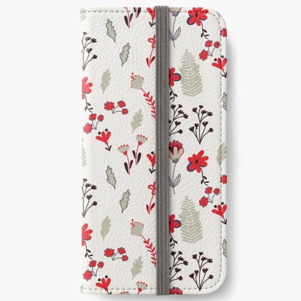 Red Vintage Floral Pattern iPhone Wallet