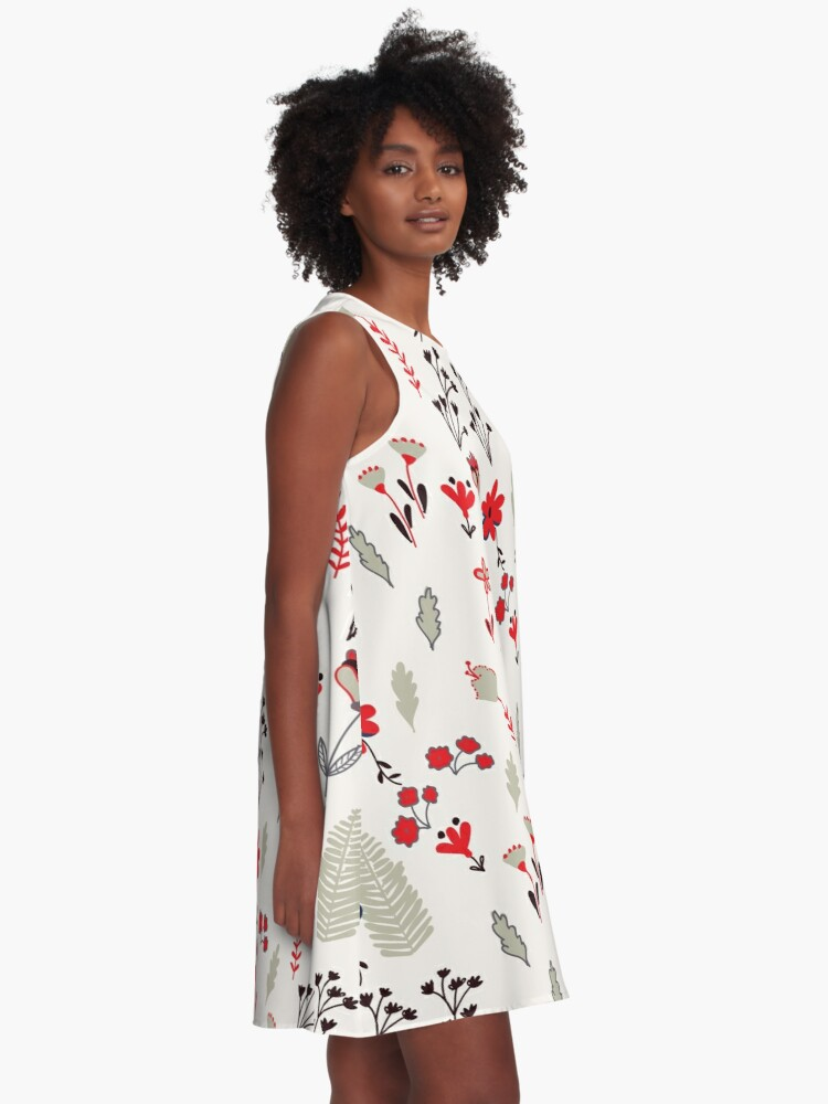 Alternate view of Red Vintage Floral Pattern A-Line Dress