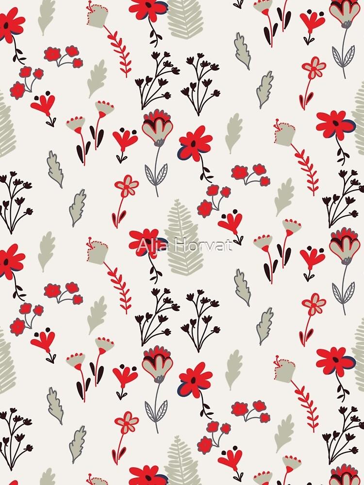 Red Vintage Floral Pattern by chotnelle