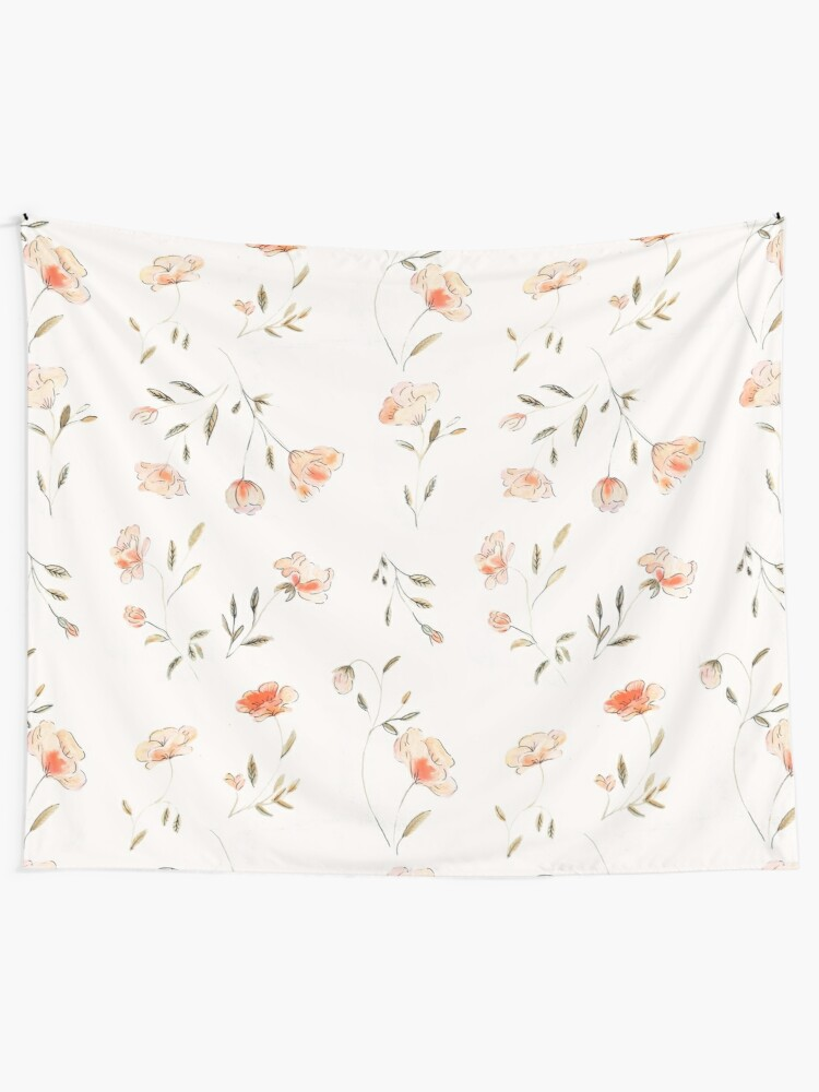 Alternate view of Watercolor Floral Pattern Tapestry