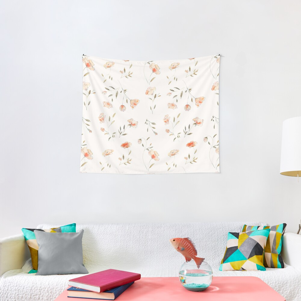 Watercolor Floral Pattern Tapestry