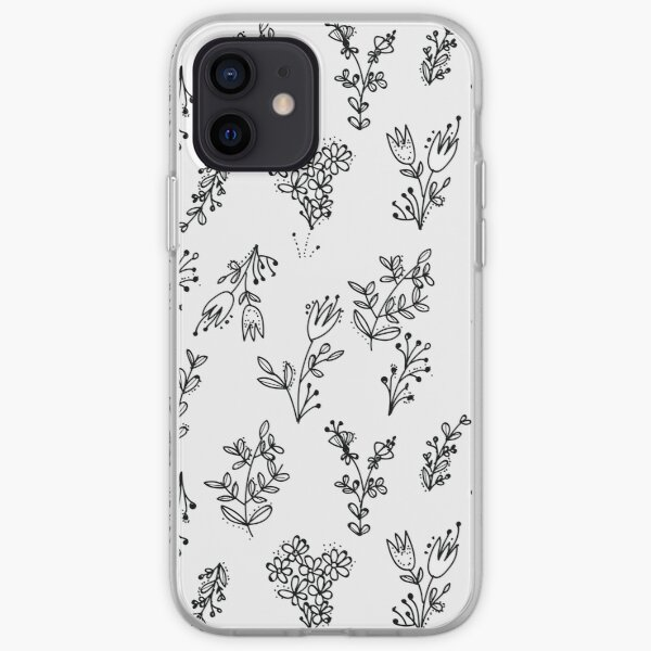 White Floral Pattern iPhone Soft Case