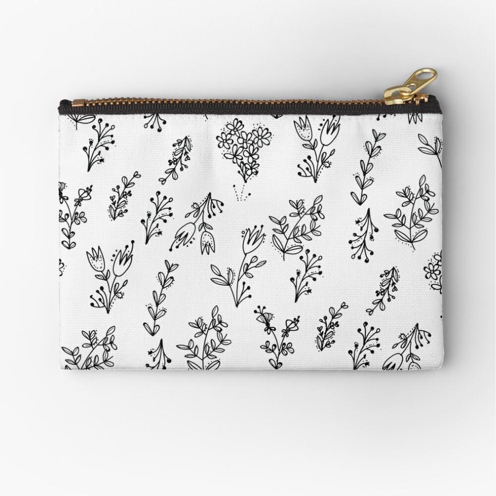 White Floral Pattern Zipper Pouch