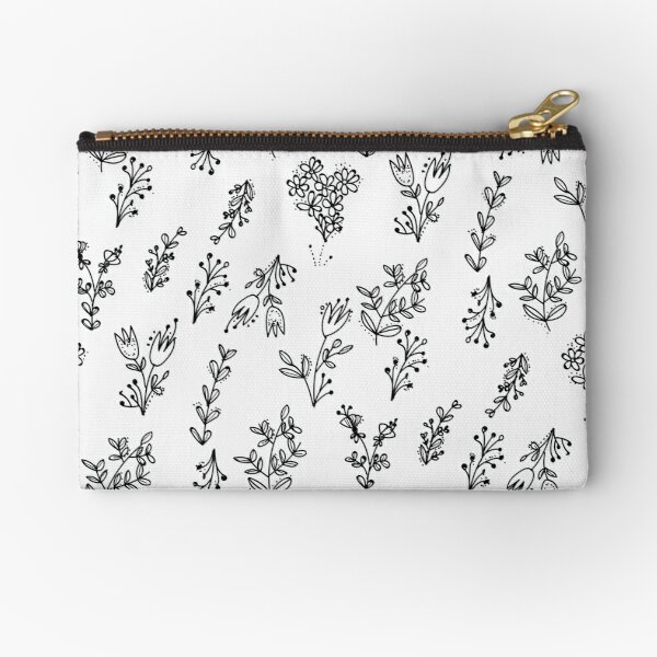 White Floral Pattern Zipper Pouch