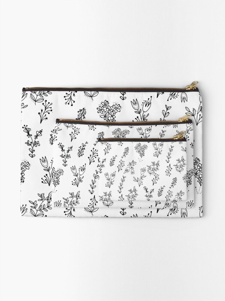 Alternate view of White Floral Pattern Zipper Pouch