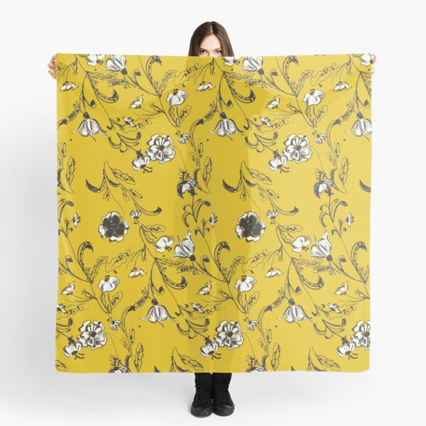 Yellow Floral Pattern Scarf