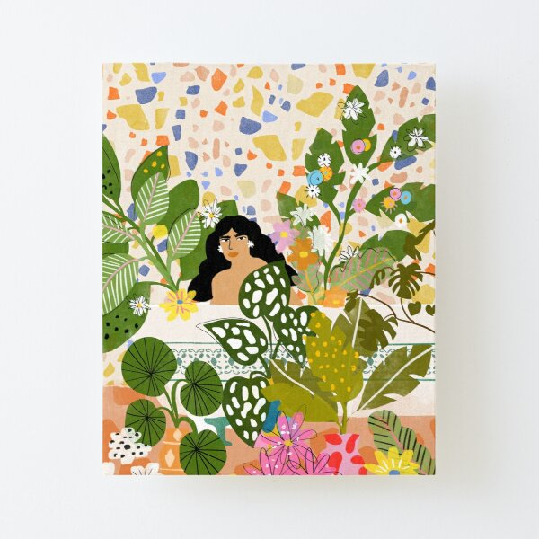 Bathing with Plants Canvas Mounted Print