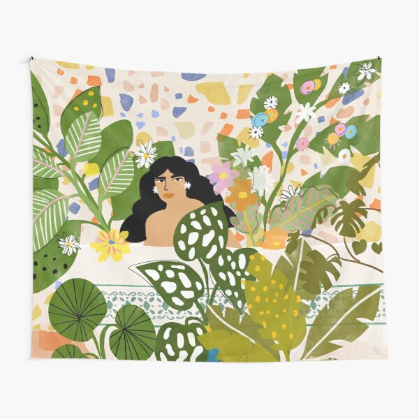 Bathing with Plants Tapestry