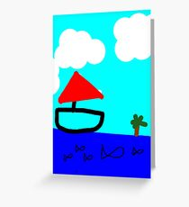 A Day at Sea - Children's Art of Boats and Fish Greeting Card