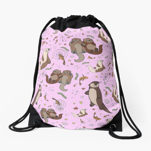 Otters in Pink Drawstring Bag