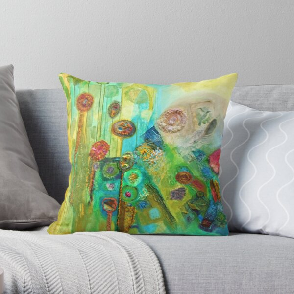 Contrasting Variations in green, blue and pink Throw Pillow