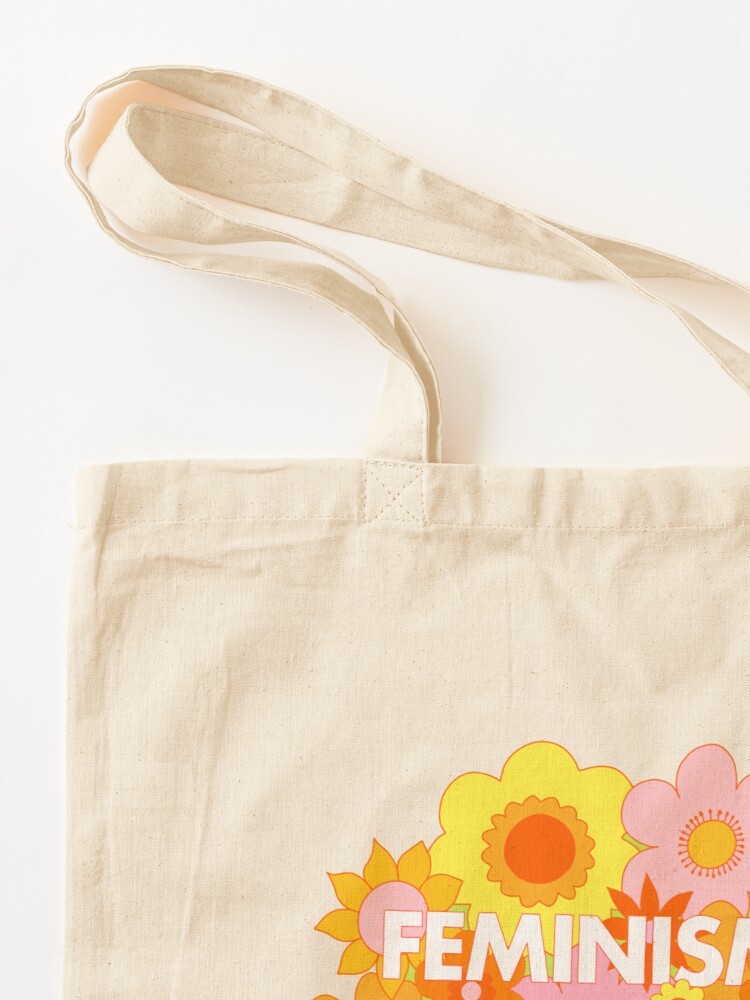 Alternate view of Feminism Is For Everyone Groovy Floral Print - The Peach Fuzz Tote Bag