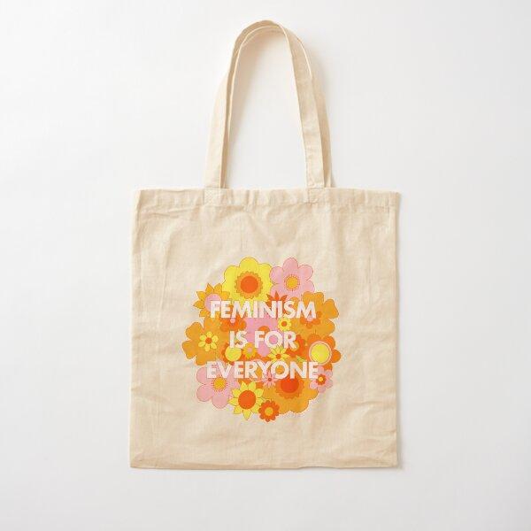 Le féminisme est pour tout le monde Groovy Floral Print - The Peach Fuzz Tote bag classique