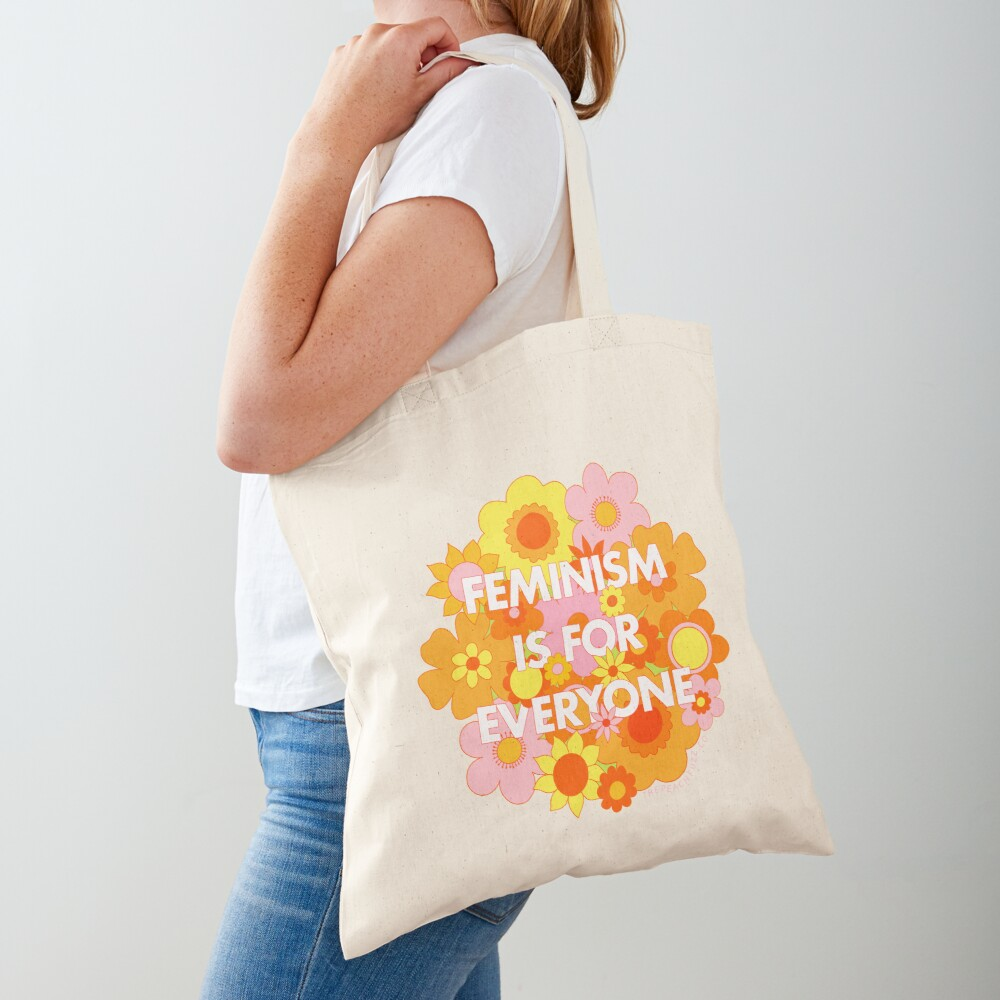 Feminism Is For Everyone Groovy Floral Print - The Peach Fuzz Tote Bag