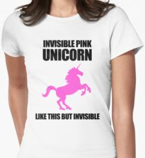 Invisible Pink Unicorn Womens Fitted T-Shirt