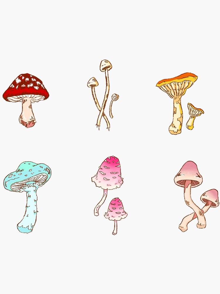 Bright Colorful Mushrooms Sticker Set by shleepyurchin