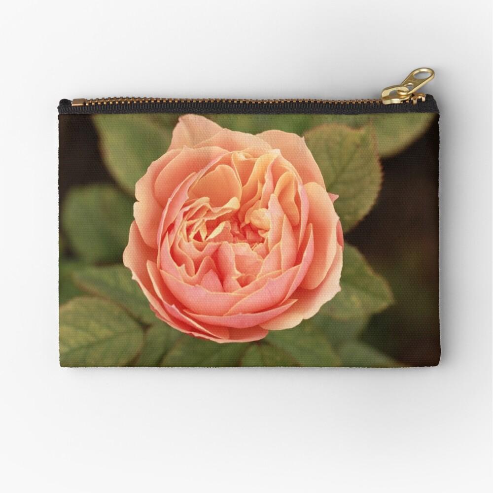 Coral Rose Zipper Pouch