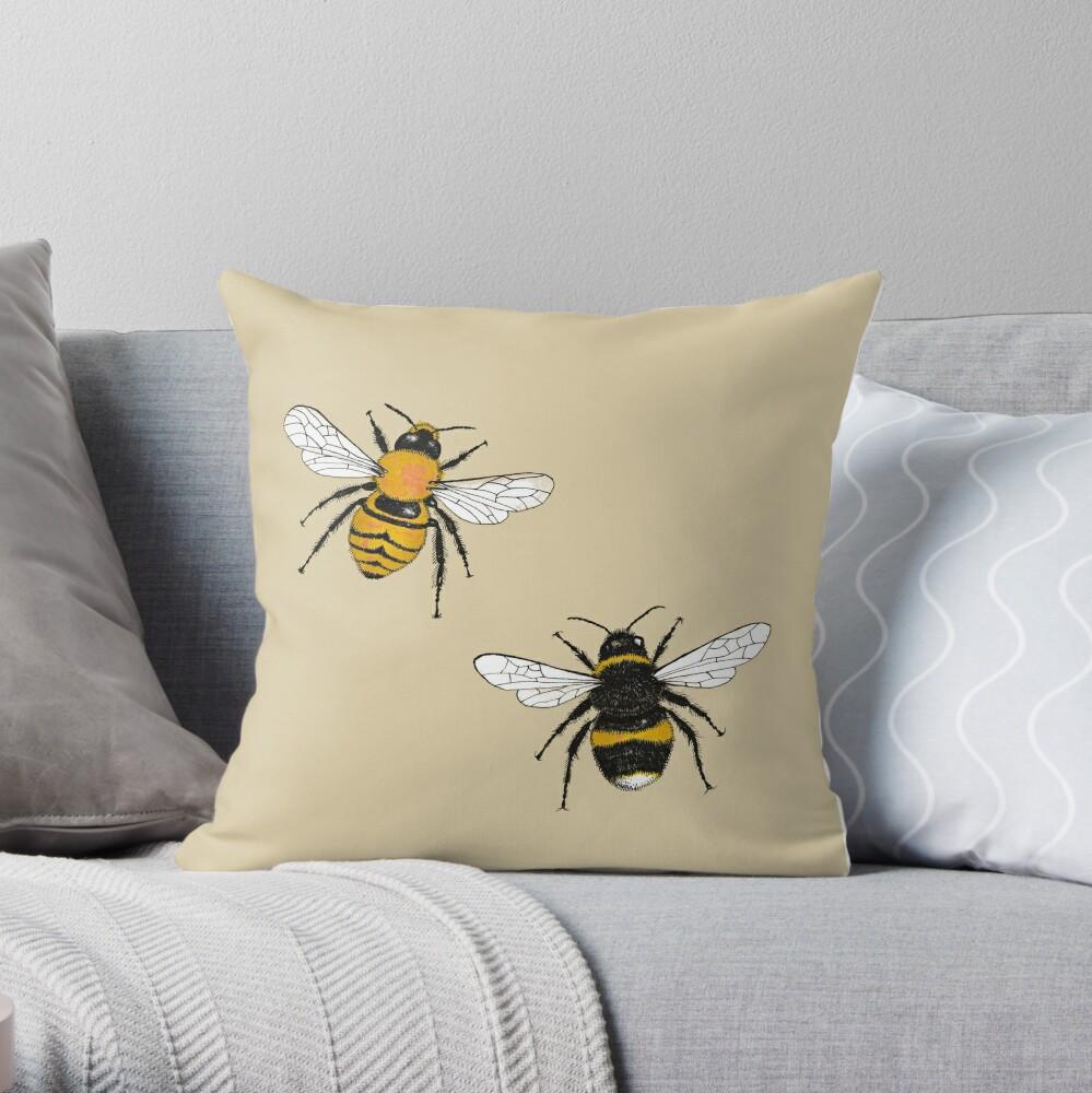 Bumblebee Illustrations Throw Pillow