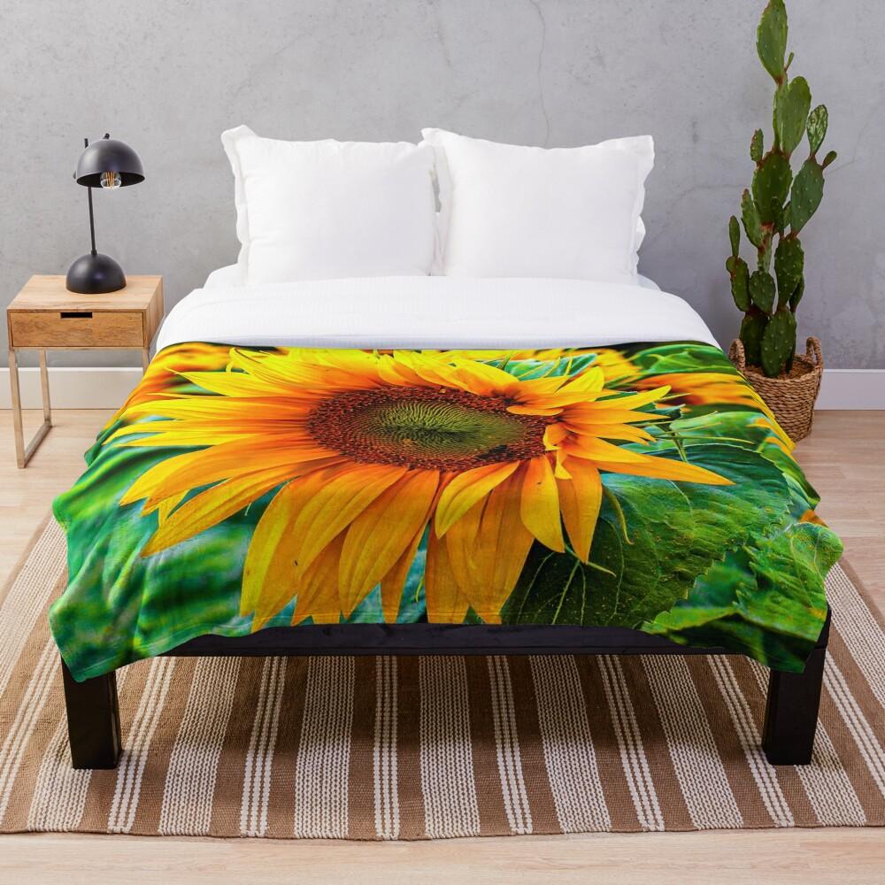 yellow flower blooming sunflower Throw Blanket
