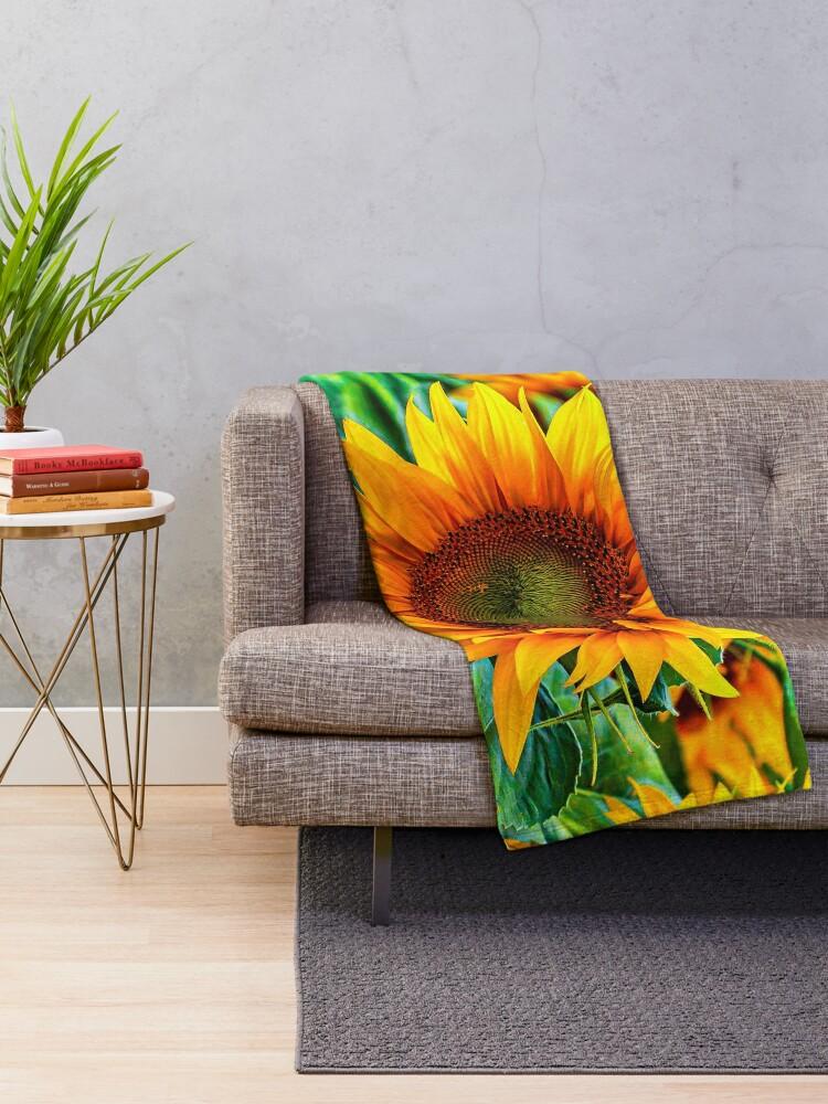 Alternate view of yellow flower blooming sunflower Throw Blanket