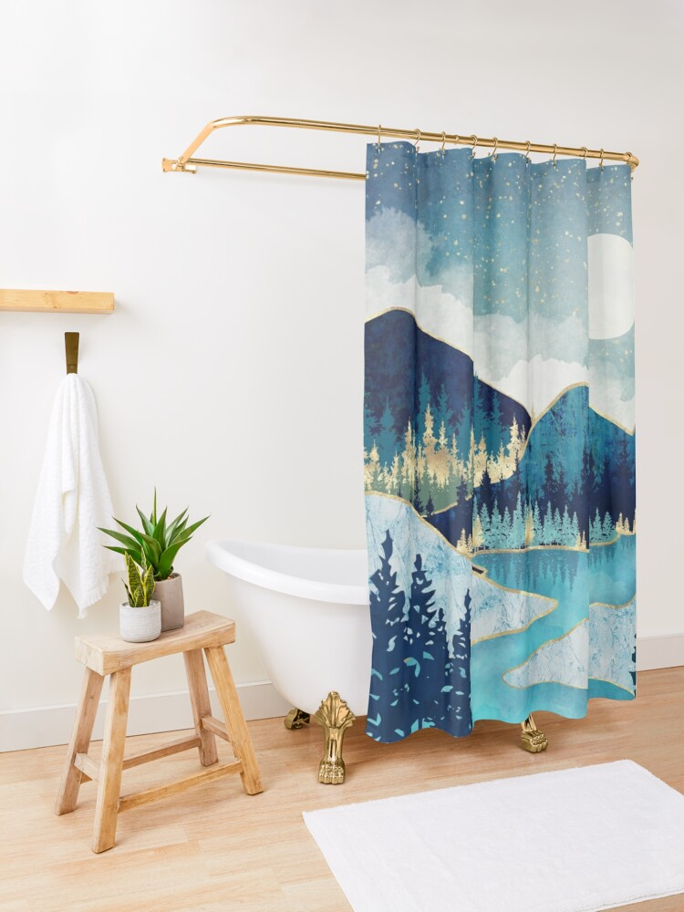 Alternate view of Morning Stars Shower Curtain