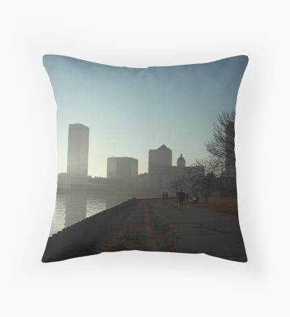 Milwaukee a city with a Harbor Throw Pillow