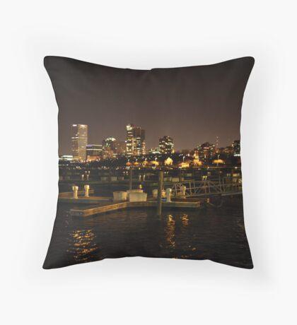 Milwaukee Night Skyline Throw Pillow