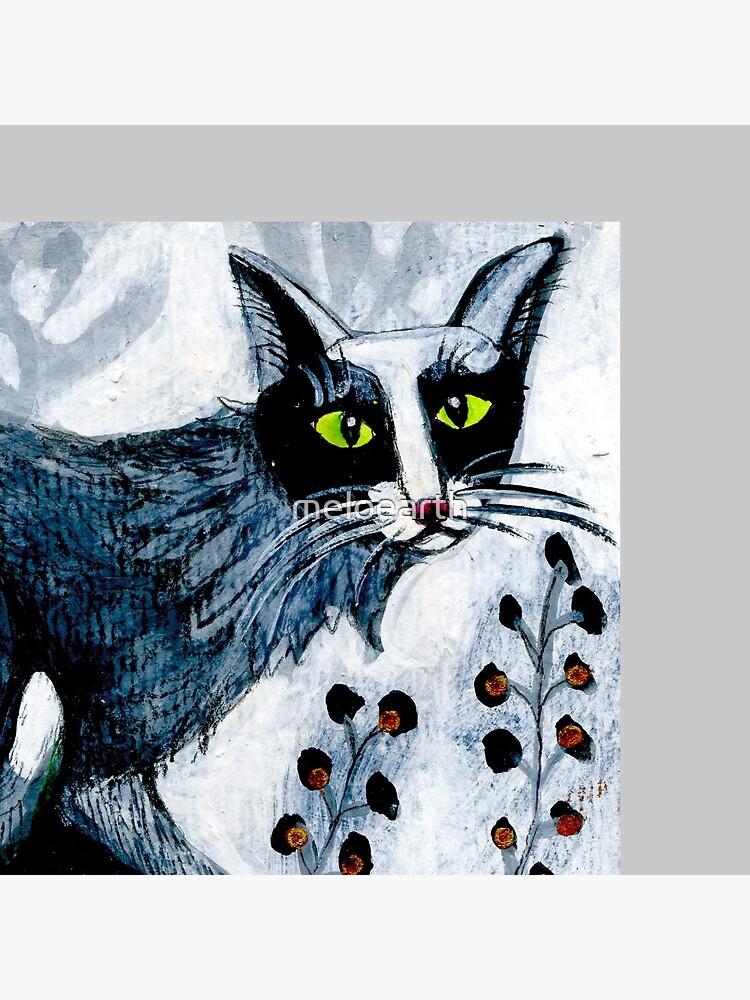 Tuxedo  cat, black cat, pet portrait, cute pets, cat art by meloearth