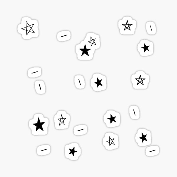 Black and White Magic Starry Night Doodle Pattern Sticker
