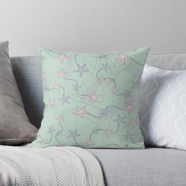 Aquatic Daydream Starfish Hand Drawn Pastel Print Throw Pillow