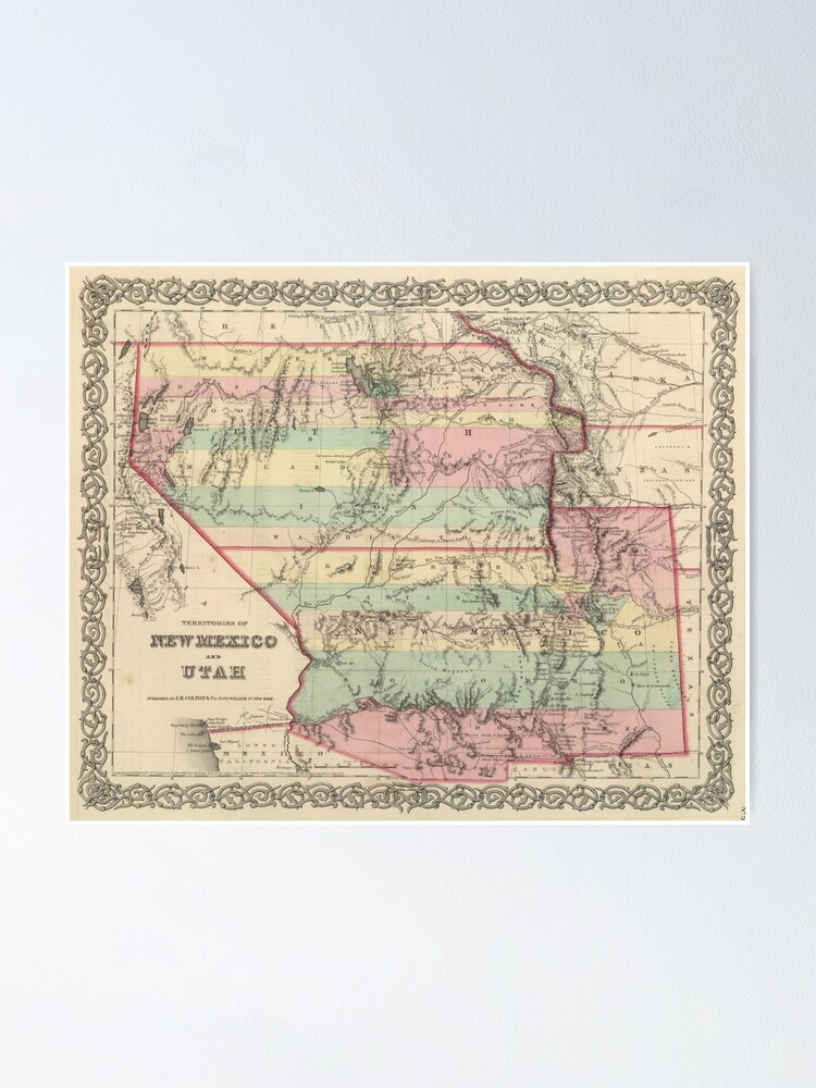 Vintage Karte Von New Mexico Und Utah 1857 Poster Von