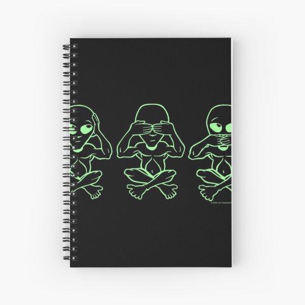 aliens hear no evil, see no evil and speak no evil Spiral Notebook
