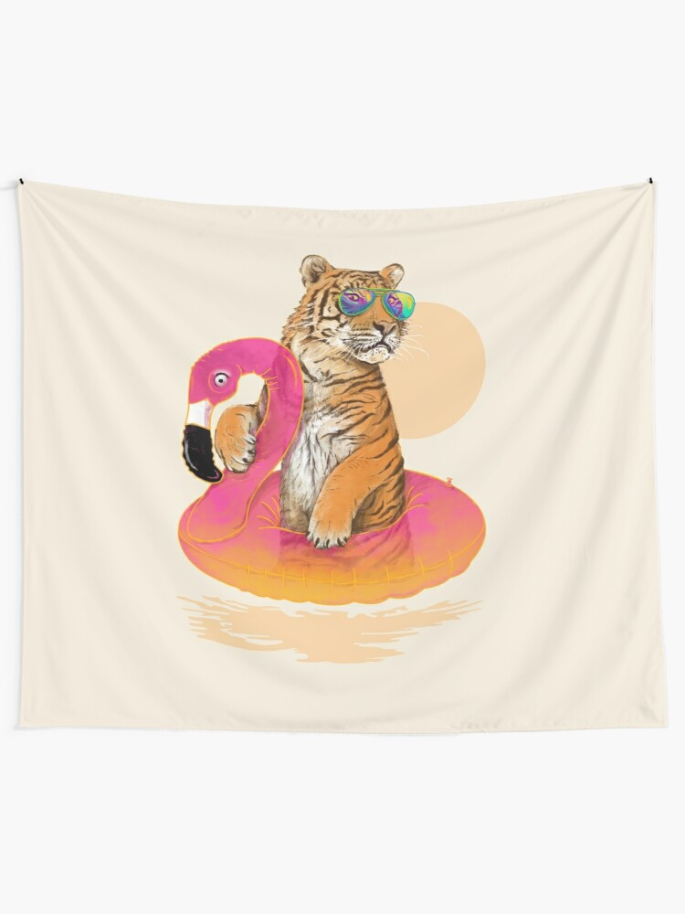 Alternate view of Chillin, Flamingo Tiger Tapestry