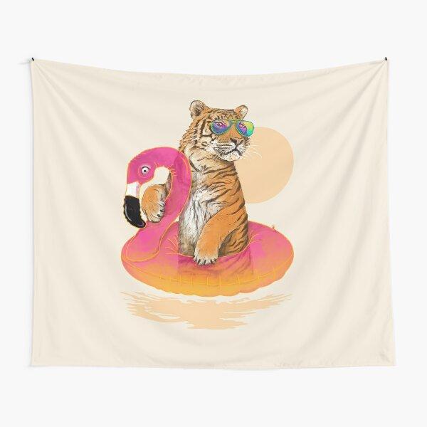 Chillin, Flamingo Tiger Tapestry