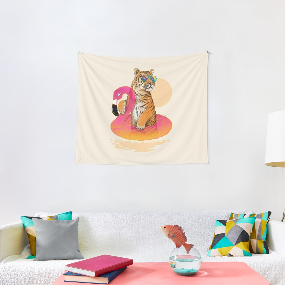 Chillin, Flamingo Tiger Tapestry