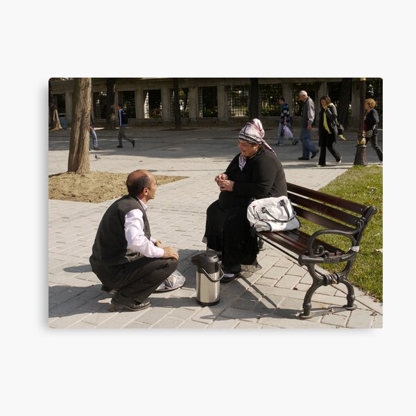 People in Istanbul - The Turkish tea seller and the Uzbek lady Canvas Print