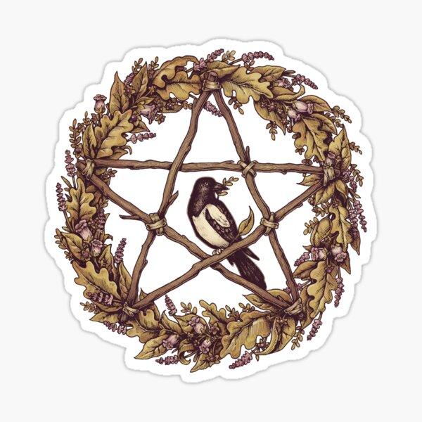 Botanical Pentacle Wreath Witch Sticker
