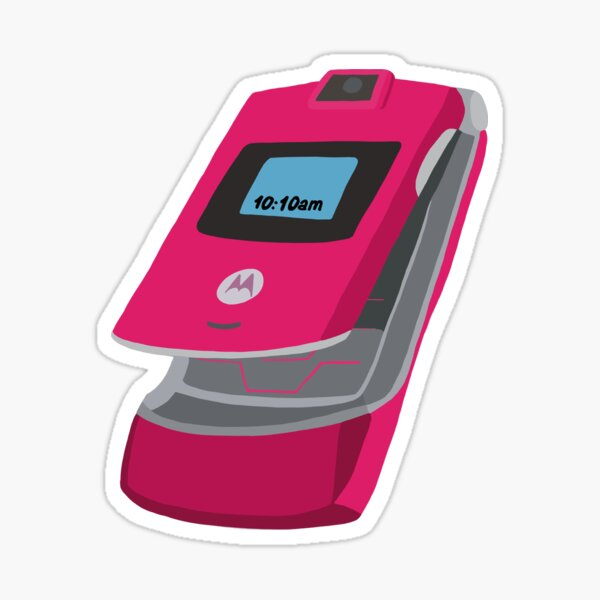 Y2K Pink Motorola Razr Drawing  Sticker