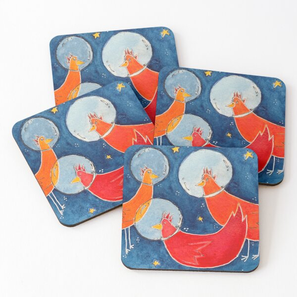Chickens in Space Coasters (Set of 4)