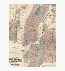 Lámina fotográfica Vintage Map of New York City (1867)