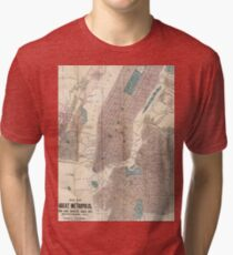 Camiseta de tejido mixto Vintage Map of New York City (1867)