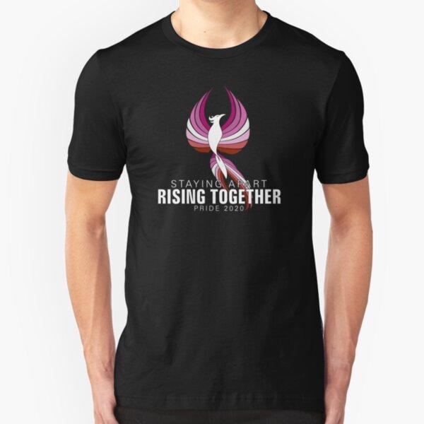 Pink Lesbian Staying Apart Rising Together Pride 2020 Phoenix Slim Fit T-Shirt