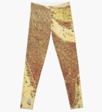 Legging Vintage Pictorial Map of New york City (1891)