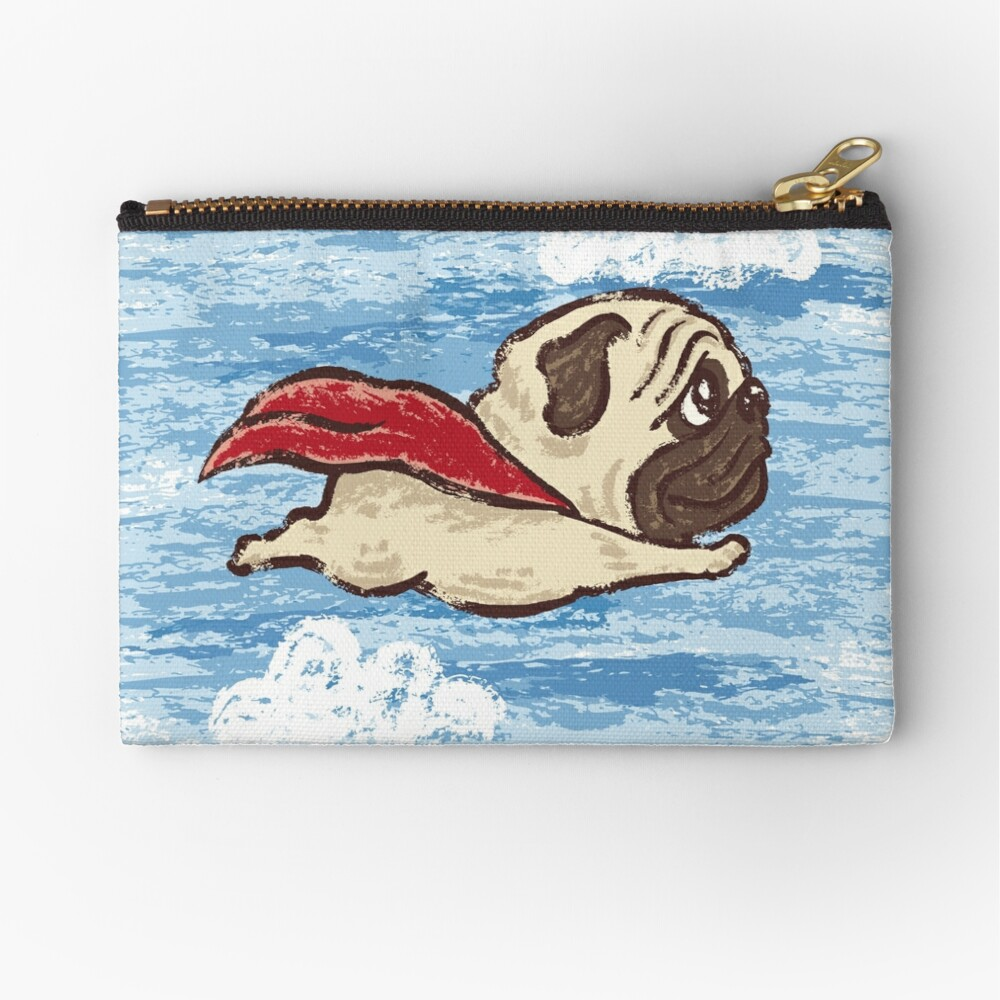 Flying Pug Zipper Pouch