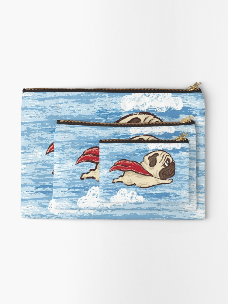 Alternate view of Flying Pug Zipper Pouch
