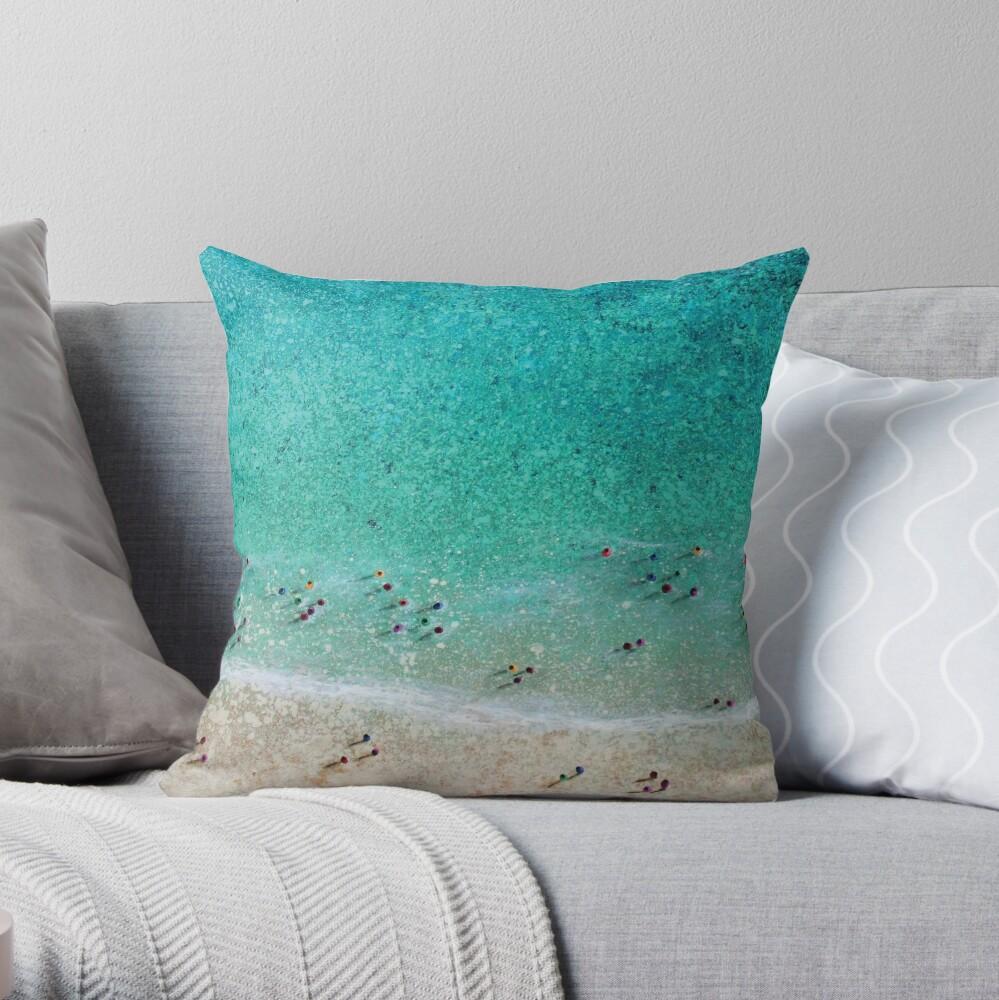 Bayside Bathers Throw Pillow