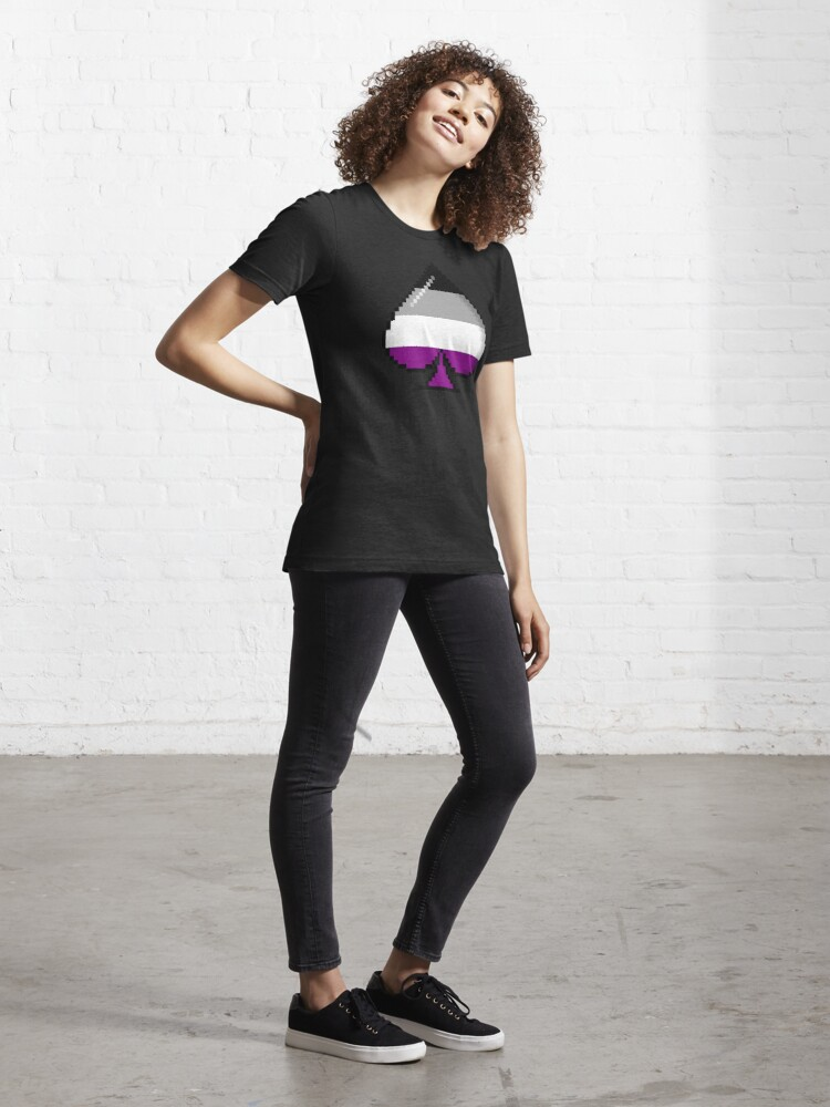 Alternate view of Asexual Pride 8-Bit Pixel Ace of Spades Essential T-Shirt