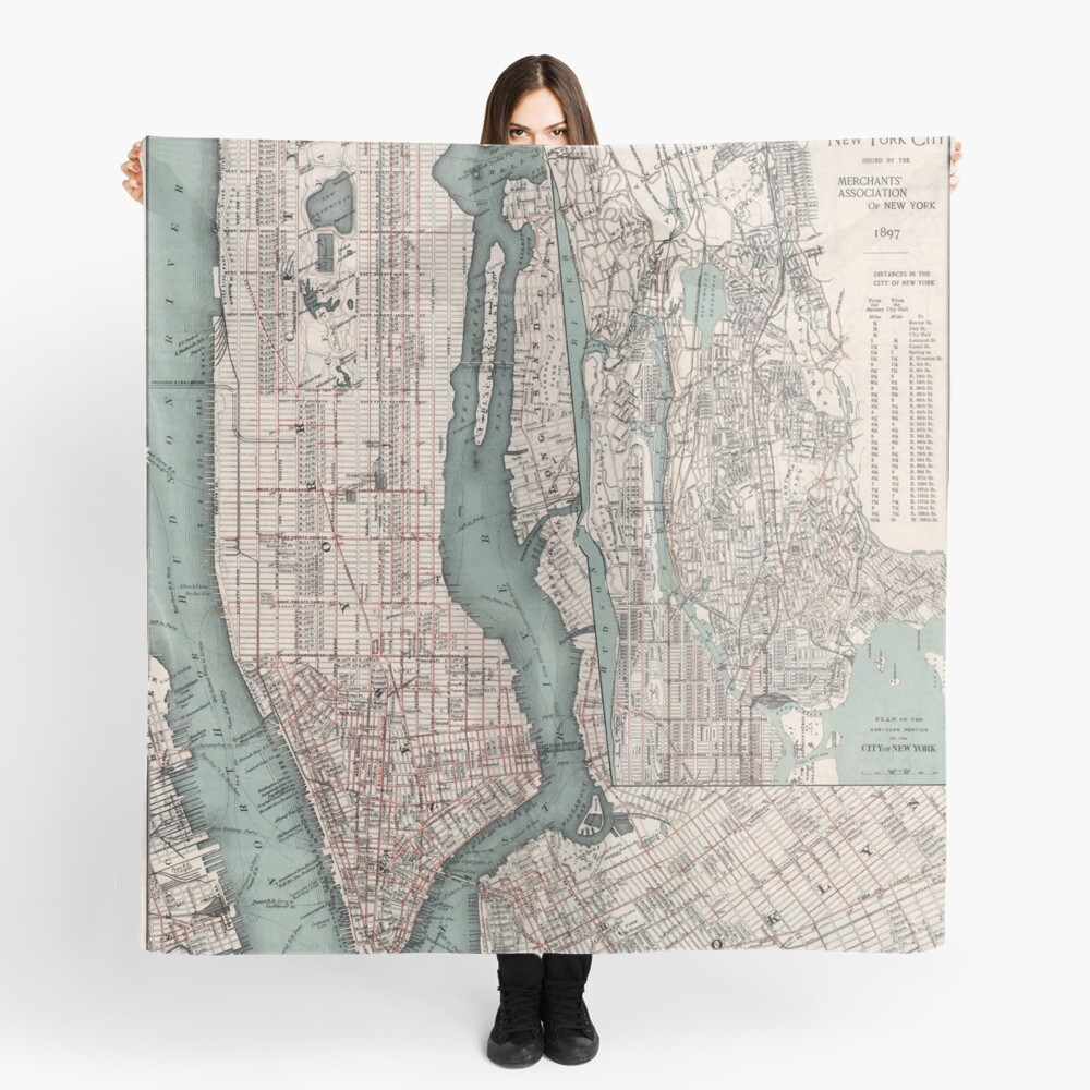 Vintage Map of New York City (1897) Scarf
