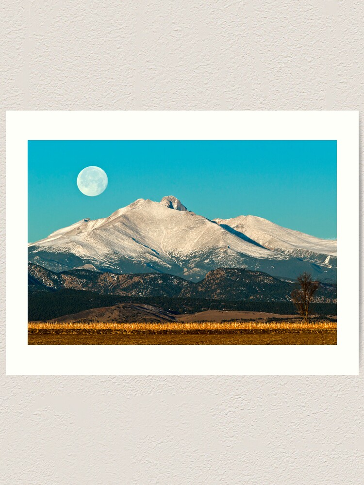 Alternate view of Longs Peak Moonset Art Print